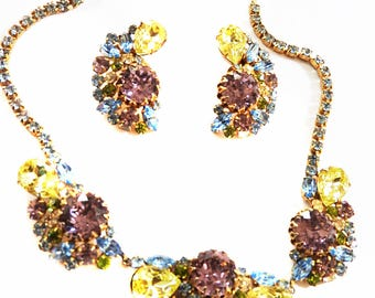 Gorgeous Huge Chunky Pastel Rhinestone Necklace and Earrings Hobe