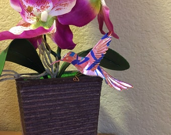 Flower pot hummingbird  ornament made from recycled La Croix cans