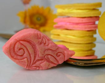 """Online Delivered Gift Boxed Cookies: Citrus """"Paisley Petals"""" in Orange Creamsicle, Keylime Pie, and Lemon Drop with Buttercream Filling"""