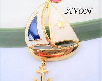Avon Sailboat Brooch -  Red White Blue Enamel - Anchor Dangling - Collectible Sailing Ship Pin