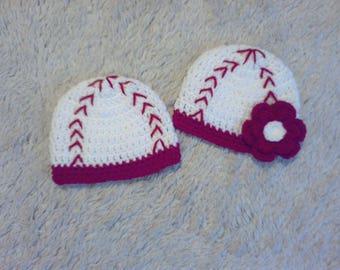 Baby Baseball Photo Prop, Baby Gift, Baby Shower, Boy Baseball Beanie, Girl Baseball Beanie