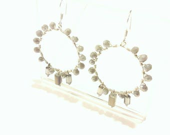 Sparkling Hoop Earrings with Dove Gray Crystals and Shimmery Dangles