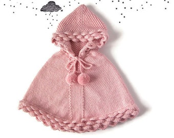 Baby Pink Poncho, Toddler Girl Knit Cape, Birthday Gift, Baby Shower, Winter Alpaca Clothes, Children Knitwear