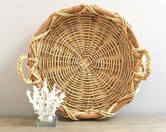 Large Vintage Wicker Tray Handled Serving Decorative Woven Willow Outdoor Serving Coastal Decor