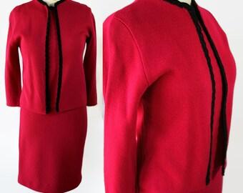 60s Norwin Knits Raspberry 3pc Suit Black Trim Embellishment