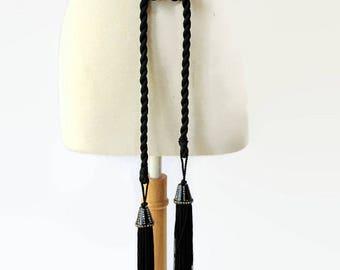 Antique Art Deco Rope Belt Fringed Flapper Rhinestones Black