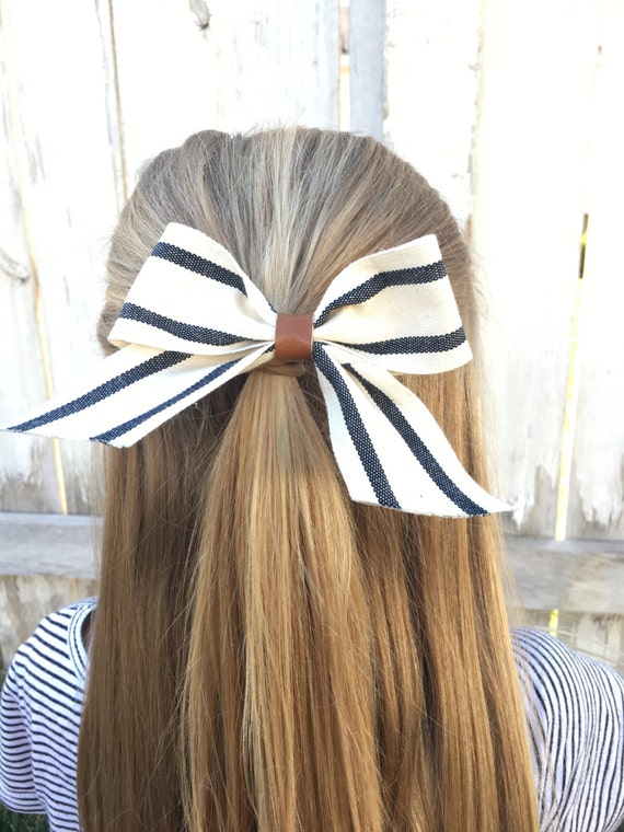 Black, Ivory, and Twill Bow with Caramel Faux Leather Accent