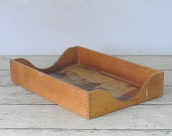 vintage wood legal size in out basket vintage letter tray office tray