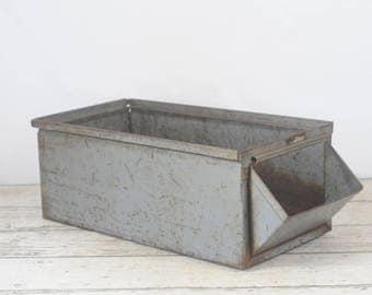 Vintage Metal Bin Ex Large Lyons Stack Bin Vintage Metal Box Industrial Metal Decor