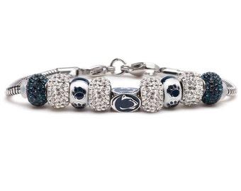 Pre-Order NOW! Penn State Nittany Lions Block 10 Piece Bead Charm Bracelet - PSU Jewelry
