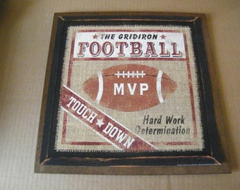 FOOTBALL Decor Sign WOOD Gridiron Touch Down Sports Rustic Vintage Man Cave Wall