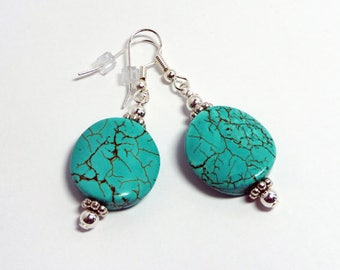 Turquoise Earrings - 20mm Coins