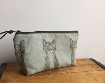 Cat Pouch, Blue Cat Purse, Cosmetic Pouch, Toiletry Bag, Makeup Organizer, Cute Cat bag, Japanese Fabric, Kawaii Zipper Pouch