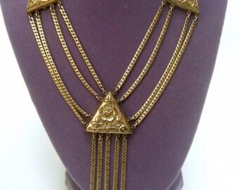 1950s Gilt Metal Tassel Necklace
