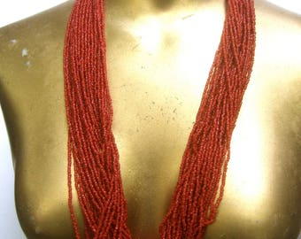 Exotic Red Glass Seed Bead Statement Necklace