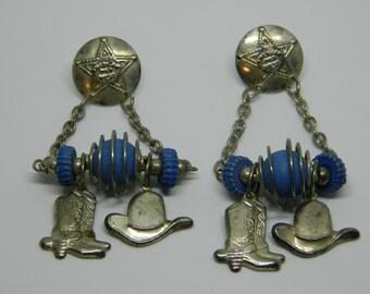 Wild West Cowboy Boot Earrings, Western Cowboy Hat Earrings, Cowgirl Earrings, Dangle Western Earrings, Dangle Wild West Earrings,