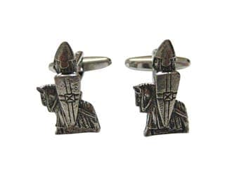 Silver Toned Textured Ancient Knight Cufflinks