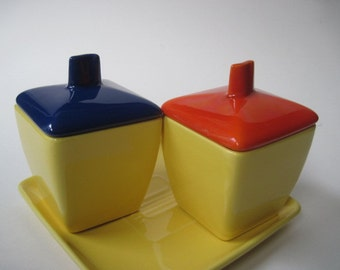 Vintage Franciscan Ware Yellow Condiment Jars and Dish Set