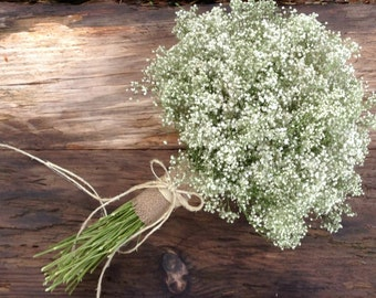 Simple Dried Baby's Breath Bouquet - Medium Large Wedding Bouquet, Large Bridesmaid Bouquet - Baby's Breath