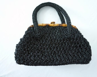 Black Vintage Woven Purse with Bamboo Closure