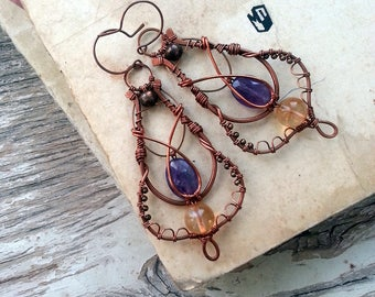 Copper Moroccan Earrings - Wire Wrapped  Earrings -   Purple Eastern Filigree Earrings - Chandelier  Dangle Arabic Copper wire earrings