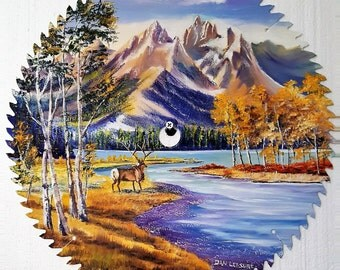 Saw  Blade Painting, Wildlife Art, Elk by The River, Field and Stream Oil with Elk at the Lake, A Dan Leasure Saw Blade Painting