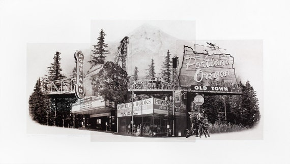 Portland Fine Art - Original Art - Photographic Etching - Print - Photography- Landmarks- Oregon- Photogravure- Photo Collage - Portlandmark