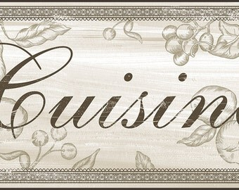 Cuisine sign, French Kitchen Wall Decor, Shabby Chic Cuisine sign, French Country Kitchen, Available in two sizes