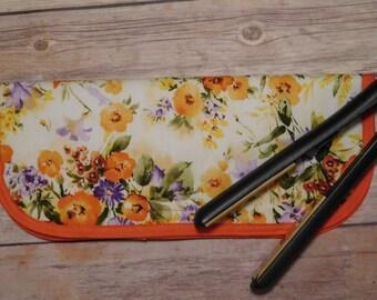 Bright orange print flat iron or curling iron travel case