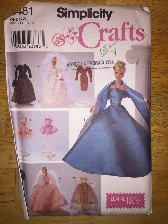 "Simplicity Crafts Sewing Pattern 8481 Clothes for 11 1/2"" Fashion Doll"