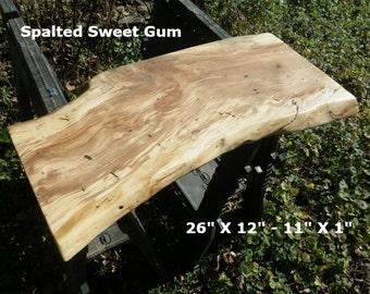 Live edge spalted sweet gum wood slab finished work station for Finished wood slabs