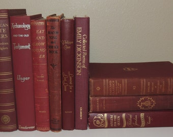 VINTAGE BOOK STACK Ten (10) Dark Red Maroon Vintage Books Photo Props Decorator Books Instant Collection Instant Library Decorative Books