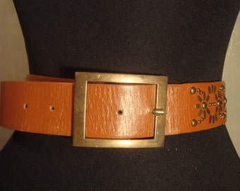 Vintage 1980s Boho Chic Distressed Faux Leather Tan Belt with Star Stud Details