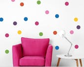 Polka Dot Decals   Polka Dots Vinyl Wall Decals for Baby Nursery    Rainbow Wall Dots    Colorful Trend Decor   Circle Wall Decals   Set 40