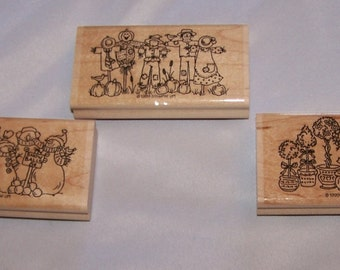 Stampin Up Great Groupings 1999 Set Of Three Wooden New Scarecrows Snowmen Topiaries