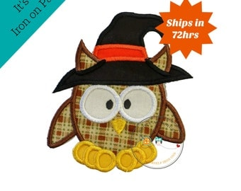 Large halloween brown plaid owl with witch hat - iron embroidered fabric applique patch embellishment- ready to ship