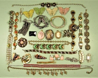Harvest Repair Craft Jewelry Lot - Vintage Designer Mid Century 35 Piece