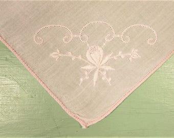 Pink Flower Hankie - Vintage Embroidered Stitched Bouquet
