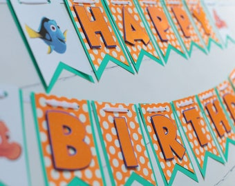 Finding Nemo Birthday, Finding Dory happy Birthday Banner, Finding Dory Banner, Finding Nemo Banner