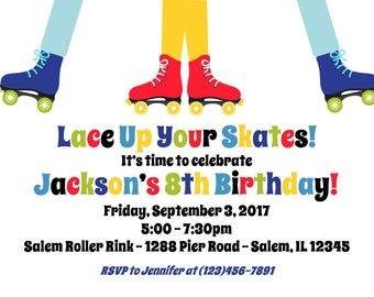 Roller Skating Invitation (Digital File) / Rollerskating Birthday Invitation / Boys Rollerskate Party / Skating Party Invitation