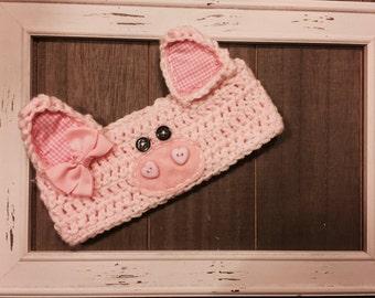 Piggy crochet headwrap, photo prop