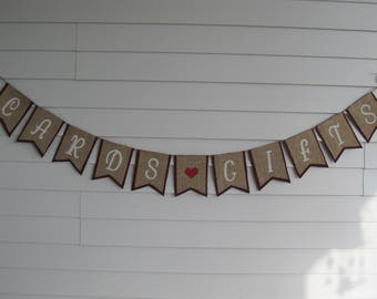 Rustic Burlap CARDS & GIFTS Banner - Perfect Wedding Reception, Birthday, or Graduation Party Decor