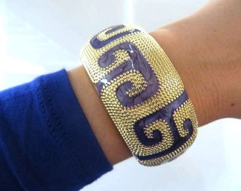 Greek Pattern Cobalt Blue Gold Statement Cuff