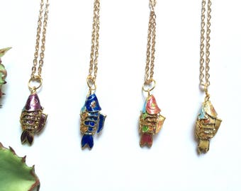 Cloisonne Mini Koi Fish Pendant in Purple, Blue, Pink, or Gold