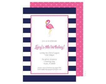 Flamingo Invitation (Flamingo Party Invitation, Flamingo Baby Shower, Flamingo Birthday, 1st Birthday, Navy Flamingo, Let's Flamingle)