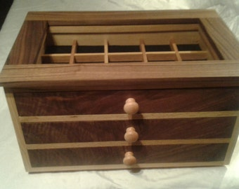 Walnut and oak jewelry box with velvet lined drawers