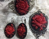Easter Mothers day Wedding Red Black Victorian Rose set Bracelet Earrings and necklace