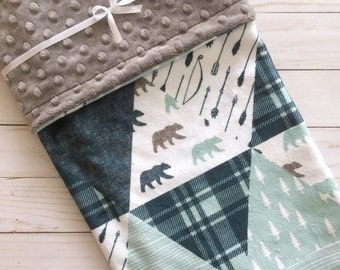 Baby Blanket - Faux Patchwork Quilt - Bear Baby Blanket - Woodland Baby Blanket - Baby Gift - Baby Blanket Boy - Minky Baby blanket