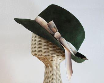 Women's Fedora in Green Velour Felt ~ Bacall ~ 1930s glamour, Lauren Bacall, rain hat ~ handmade by Bonnet, local Portland millinery