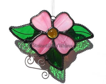 Stained Glass PINK DOGWOOD Flower,  Yellow Glass Nugget center, Handmade Original Design, Pink Dogwood Suncatcher, Stained Glass Dogwood